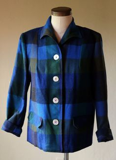 Womens Vintage Pendleton Style Button down Wool Jacket Pendleton Wool, Mother Of Pearl Buttons, Blue Plaid, Classic Style, Favorite Things, Vintage Outfits, Blazer, Coat, Sleeves