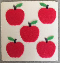 Sandylion RED GREEN YELLOW APPLES 1 Sqr RETIRED Prism Vtg Sticker RARE/'