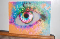 rainbow eye perler bead art made by me - amanda wasend
