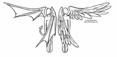 Angel And Devil Tattoo Design Ideas picture 3157 Angel Devil Tattoo, Demon Tattoo, Angel And Devil, Hd Tattoos, Tattoo Drawings, Tatoos, Wing Tattoos, Simple Angel Tattoos, Stickers