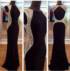 2017 Sexy Prom Dresses,Prom Dress,Chiffon Backless Evening Gown,Long Formal Dress,Backless Prom Gowns,Open Backs Evening Dresses,Black Party Gowns