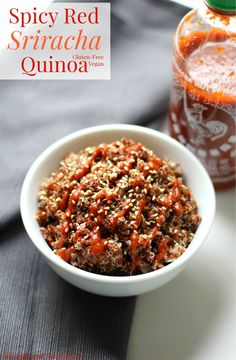 Spicy Red Sriracha Quinoa | It's gettin' hot in here! Fiery and hot, spicy red sriracha quinoa is not for the faint of heart! The perfect taste bud poppin' Asian side dish recipe to please all of your spicy loving gluten-free and vegan friends!  #glutenfree #vegan