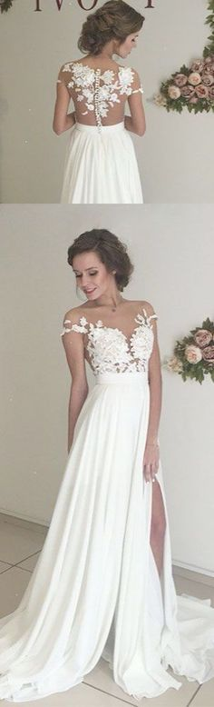 Unique ivory chiffon lace round neck long prom dress for teens evening dress white bridesmaid dress