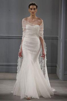 De 10 opvallendste bruidsjurken trends van 2014 - met stola - Monique Lhuillier