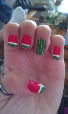 watermelon summer nail art