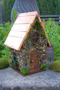 Fairy House with Copper Roof and purple by TheHealersGarden