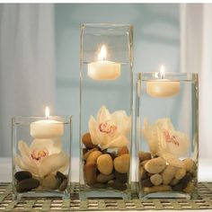 Vases, Rocks & Flowers Centerpiece