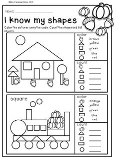 Fall math and literacy no prep - kindergarten. an excellent pack with a lot of kindergarten math activities, printable worksheet 3d Shapes Worksheets, Shapes Worksheet Kindergarten, Kindergarten Math Activities, Kindergarten Math Worksheets, Math Literacy, Preschool Math, Kindergarten Worksheets, Kindergarten Classroom, Math Games