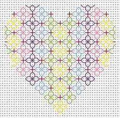Blackwork Heart Card: Cross stitch (Fat Cat, CK-HT)