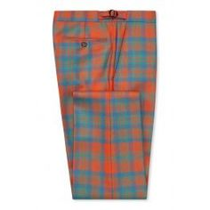 Ancient Mathieson Tartan Trousers Tartan trousers are a New & Lingwood signature, tailored from authentic Scottish cloth with perfect check-matching across the trousers' seams. This pair is cut in confident burnt orange, blue and green 'Ancient Mathie Tweed Trousers, Navy Blazers, Savile Row, Linen Jackets, Wooden Hangers, Burnt Orange, Tartan, Clothes, Fashion
