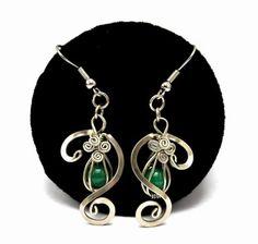 Pendientes de plata alemana con jade verde
