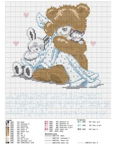 Birth sampler Bear Teddy for boy or girl -- there are 6 other (larger) charts from diff source, diff size Baby Cross Stitch Patterns, Cute Cross Stitch, Cross Stitch Animals, Cross Stitch Charts, Cross Stitch Designs, Cross Stitching, Cross Stitch Embroidery, Embroidery Patterns, Tatty Teddy