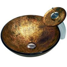View the Vigo VGT017 Copper Shapes Tempered Glass Vessel Sink with Matching Waterfall Faucet at FaucetDirect.com.