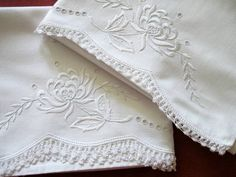 Vintage Antique Pillowcases Whitework Broderie Anglaise Crocheted
