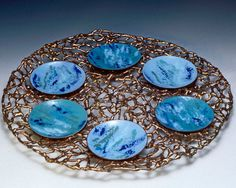 Passover Seder Plate Totally hand  sculpted bronze by LindaGissen