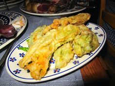 Tuscan Cuisine: Fried Zucchini Blossoms at Trattoria dei 13 Gobbi in Florence http://destinationfiction.blogspot.ca/2015/02/my-bucket-list-firenze.html