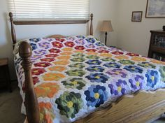 Queen Patchwork QUILT multi colored by LindaGayleHandmade