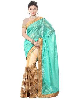 Buy Turquoise N Beige Embroidered Half N Half Saree, half-n-half-saree Online Shopping, SAMMF1232
