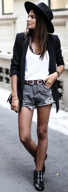 #fall #street #style   Black Blazer + White Top + Denim Shorts