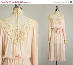 20 OFF SALE 70s Vintage Blush Antique Lace Embroidered by decades