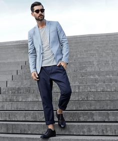 Men's Outfit Inspiration Lookbook - Tonal Blue Blazer and Trouser Combos