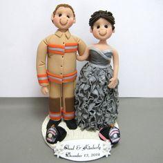 custom fireman themed wedding cake topper.