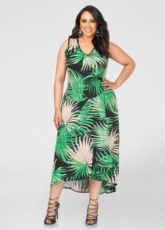 Palm Print Hi-Lo Maxi Dress Palm Print Hi-Lo Maxi Dress
