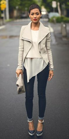 Layered neutrals with skinny jeans, sexy & simply stated
