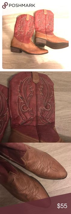 Red cowboy boots Great distressed light red cowboy boots, gently used, only worn a few times, they are simply too small for me Shoes Heeled Boots