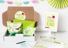 Glückwunschkarten - Einschulungsbox   Geschenkbox Buchstabensalat Grün - ein Designerstück von naehfein-berlin bei DaWanda
