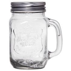 NEW Set of 4 Mason Jars 16 oz Mug Glasses With Handles and Lids Drink Kitchen