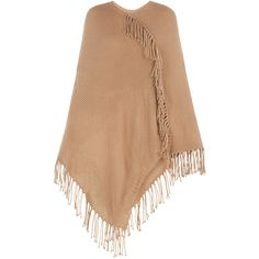 BCBGMAXAZRIA Fringe Poncho ($89) ❤ liked on Polyvore featuring outerwear, jackets, poncho, beige poncho, poncho pullover, long poncho, pullover poncho and fringe poncho
