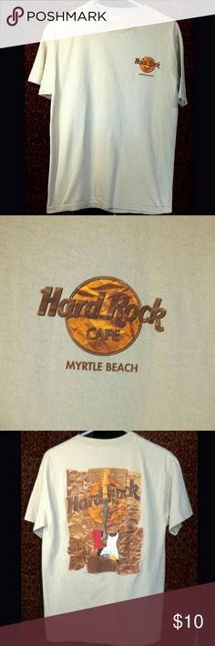 """Hard Rock Cafe White t-shirt Excellent condition, HARD ROCK CAFE T-Shirt from Myrtle Beach North Carolina.  The has been removed but it measures like a medium.  Fabric is a soft thick cotton.  There is minimal signs of wear and very little fading.  Chest measures to a 38"""" hard rock cafe Shirts Tees - Short Sleeve"""