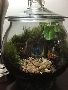 My Hobbit Hole Terrarium. Used Sculpey to form the hobbit home. Made flowers from floral wire and Sculpey. Plants are just small plants from nursery and some moss I found on a walking trail.