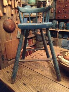 Antique Childs Highchair Youth Chair Blue Paint Primitive AAFA Early Old | eBay