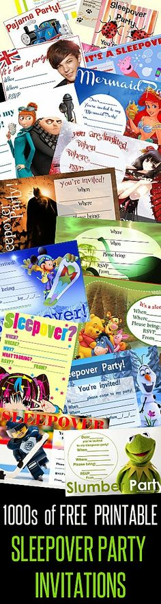 This site has many FREE invitations for a sleepover party and they are all sorted into categories in the column on the right.  When you have found the sleepover invite that is right for you, simply click on the image and it will open full size, then either right click on the image to save it to your PC for later - or - press CONTROL and the letter P on your keyboard to print however many copies of the invite you need for the number of guests you're inviting.