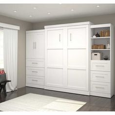 "Boutique Queen Wall Bed with One 36"" Storage Unit with Drawers and Door, and One 25"" Storage Unit with Drawers in White"