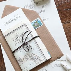 A great choice for Destination Weddings or for Weddings on the Beach, the Vintage Travel wedding invitation features an A4 map print to act as the main invitation. The invite is secured in a lovely leather cord topped up with a delicate travel charm! Price starts from £4.50