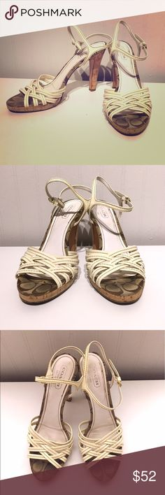 """COACH: Soft White Strappy Heels 👠 25%BundleDisc! Beauty Coach heels with signature logo base, cork 3"""" heel, and off-white straps that compliment any outfit: dresses, skirts, flare/boot/skinny jeans in all colors, and are perfect for a vacation trip or even office to cocktails! Great spring/summer staple in good used condition. I should have put extra soles to protect on bottoms, but easy to add. Adjustable ankle straps are a bit stretched but work just fine :) Can't notice used condition…"""