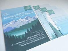 LOVE - Destination Mountain Invitation Suite, Art Deco Travel Poster, Digital printable files, DIY wedding