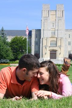 Burruss Hall at Virginia Tech.  Engagement portraits.