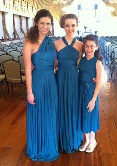 Royal Blue Column Ruched Chiffon Tea Length Junior Bridesmaid Dresses