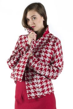 Grey and Red Houndstooth Jacket  #jacket #red #houndstooth #grey #winter #fall #spring #Anastasia #AnastasiaChatzka #Fashion #Fashiondesigner #Boutique #Chicago #Madeinchicago #newpost #outfit #OOTD #trending #fashionable #inspiration #musthave