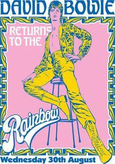 DAVID BOWIE - 30 August 1973 - London Rainbow Theatre - live show artistic retro concert poster on Etsy, $13.27