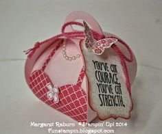 Fun Stampin' with Margaret!  Curvy Keepsake Box thinlit.  Box for Breast Cancer Awareness!