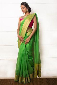 Green kota saree with parrot motif pallu