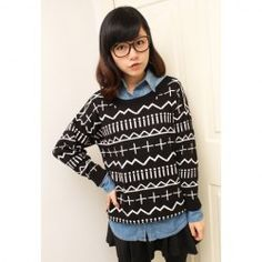 Retro Style Scoop Neck Long Sleeved Christmas Sweater For Women