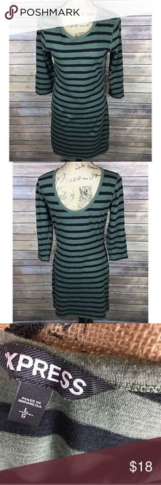 Express Sz Large Army Green Black Stripe Dress Pre-owned Express Women's Dress Size Large Army Green Black Striped 3/4 Sleeve. Dress is not lined.  Bust is 17 inches laying flat. Length is 35 inches from top of bust area to bottom hem.  Please feel free to visit my store for more items! Express Dresses
