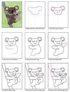 Koala zeichnen | Artprojectforkids by Kathy Barbro