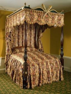High-post bedstead, possibly by Thomas Seymour or Vose and Coates. Fabric by William Lemon. Gilder John Doggett. Museum of Fine Arts, Boston.